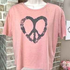 Tops - Peace and Love floral graphic tee crop top t-shirt